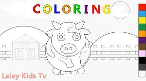 coloring pages farm and cow barn coloring learning colors for