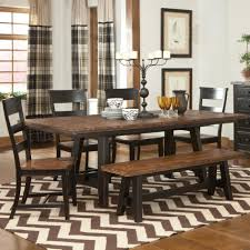 furniture sturdy dining table with bench black wooden finished