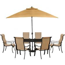 Patio Table Parasol Cambridge Hammond 7 Piece Patio Outdoor Dining Set With Glass Top