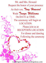 wedding programs wording exles wedding invitation format exles