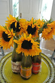 Sunflower Centerpiece Tablescapes Sunflower Table And Fiesta Chowder The Painted Apron
