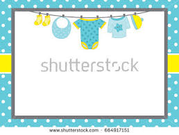 vector card template baby boy clothes stock vector 664917154