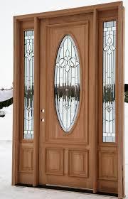 Exterior Wooden Door Light Brown Wooden Door With Oval Panel On The Middle Combined