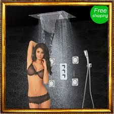 compare prices on bath shower thermostatic mixer online shopping bathroom shower set accessories faucet panel tap thermostatic mixer led ceiling shower head rain waterfall mist