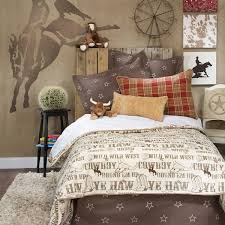 horse wall mural in cowboy theme bedroom for boys nursery