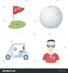 Golf Cart Flags Field Hole Flag Golf Ball Golfer Stock Illustration 668349007