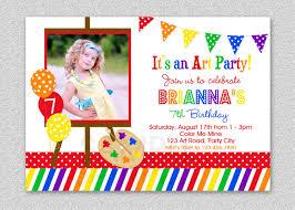 Birthday Invitation Card Kids Art Birthday Party Invitation Colorful Rainbow Art Birthday