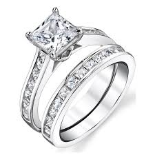 what is a bridal set ring oliveti sterling silver princess cut engagement ring bridal set
