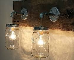 Mason Jar 2 Light Fixture Primitive Industrial Rustic Bathroom
