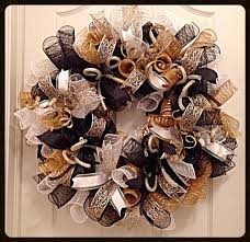 white deco mesh black gold and white deco mesh wreath black gold and
