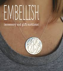 gold plated monogram necklace engraved disk necklace with script monogram in sterling