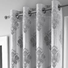 Black And White Damask Curtain Anika Silver Eyelet Voile Curtain Panels Low Priced
