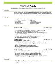 Sample Resume For Hotel by Writing And Editing Services Sample Resume House Cleaning Job