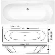 new single double ended white bathtub acrylic straight bath 1700 x 700mm 1700 x 750mm 1800 x 800mm
