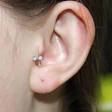 hoop earring on cartilage silver 2mm opal tragus ring nose hoop earring cartilage ear lobe
