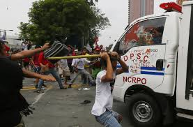 jeep philippine protesters at us embassy in philippines hit by police van