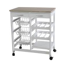 home basics 3 basket kitchen cart with 2 drawers and wine rack