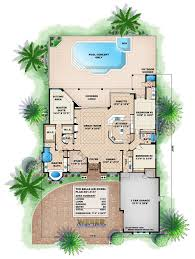 house plan rectangle with courtyard caribbean design style luxury villa 5 bedrooms 4 baths tropical b