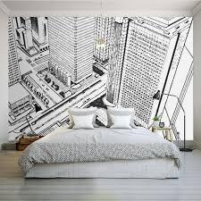 bedroom mural photo wallpaper modern black white hand painted city street high