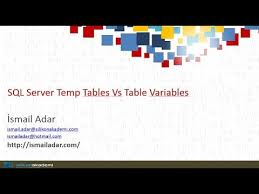 Temp Table Sql Server Sql Server Temp Table Vs Table Variable Youtube