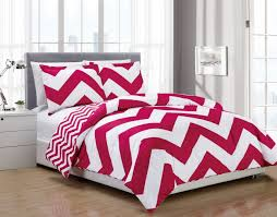 Home Design Down Alternative Color King Comforter 3 Piece Chevron Pink White Reversible Down Alternative Comforter Set