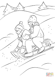 winter sledding coloring page free printable coloring pages