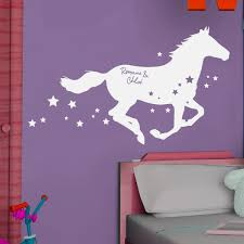 chambre fille cheval sticker personnalisable cheval etoilé stickers center
