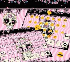 skull apk sugar skull keyboard theme pink bow skull apk free