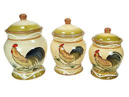 Rooster Kitchen Canisters Ceramic Canister Set Pulliamdeffenbaugh Com