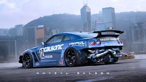 street drift cars nissan gt r drift car with exposed rear mounted turbos rendered