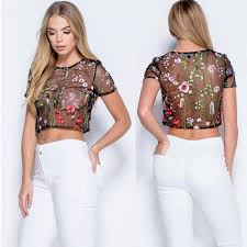 embroidered blouses 2018 womens mesh sheer flower embroidered blouse summer see