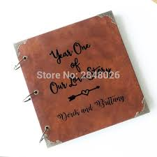 engraved wedding albums year one of our story personalized monogrammed engraved