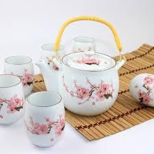 tea cup set jingdezhen ceramic tea set gift 7 big pot handle kung fu tea cup
