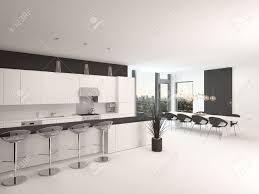 modern black and white kitchens modern open plan black and white kitchen interior with a counter