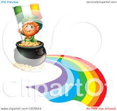 cartoon of a st patricks day leprechaun with an irish flag and pot