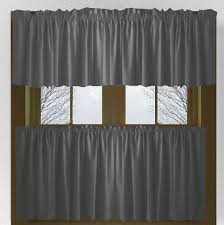 Cafe Tier Curtains Solid Charcoal Gray Kitchen Cafe Tier Curtains
