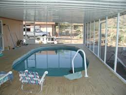 above ground pool deck and awning
