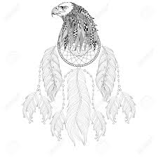 hand drawn dreamcatcher with eagle head for coloring pages