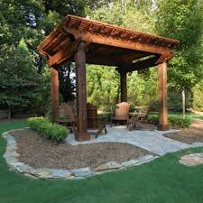 Ideas For Backyard by Wooden Gazebo Ideas For Elegant Backyard With Adirondack Chairs