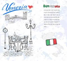 venice italy sketch elements hand drawn set with flag map