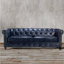chesterfield sofa navy indigo blue leather couch living room