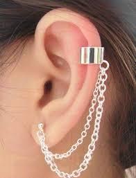 cuff earrings with chain uk seller a silver tone chain ear cuff clip stud wrap