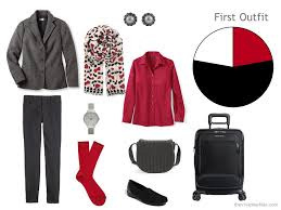 a winter travel capsule wardrobe in black red and white the