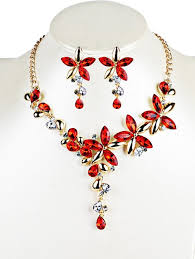 red crystal necklace set images 2018 vintage crystal floral embellished necklace earrings jewelry jpg
