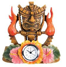 tiki decorations home tiki fire clock collectible figurine statue sculpture figure