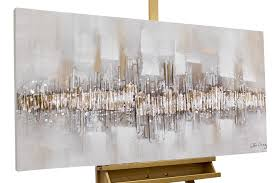 Wohnzimmerm El Vintage Abstraktes Acryl Gemälde Braun Grau Kaufen Kunstloft Kunstloft