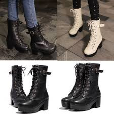 s boots lace up s mid calf boots lace up mid heel platform motorcycle