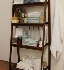 Leaning Bathroom Ladder Over Toilet by Bathroom Leaning Ladder Shelf 4 Tier Display Linen Tower