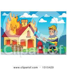 clipart cartoon black white white male fireman driving