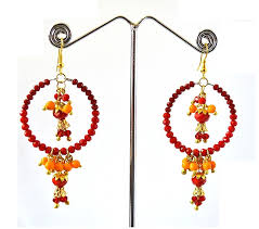 red maroon beads chandelier earrings for women light weighted